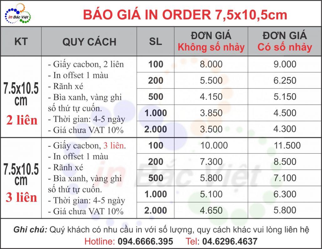 BẢNG GIÁ ORDER KÍCH THƯỚC 7.5X10.5CM