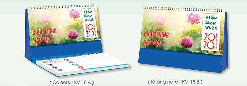 Mẫu lịch để bàn chủ đề hồn sen Việt