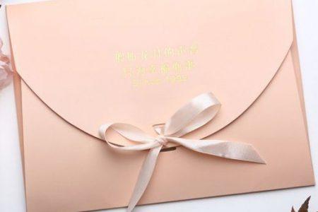 Mẫu phong bì giấy màu hồng nhạt, thắt nơ xinh