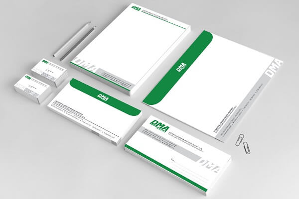 Mẫu phong bì thư công ty dma màu xanh